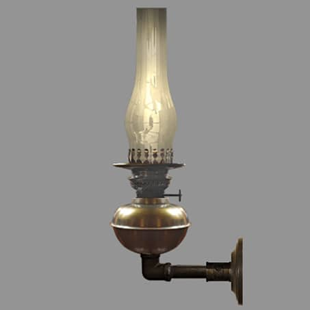 Oil Type wall light with glass chimney