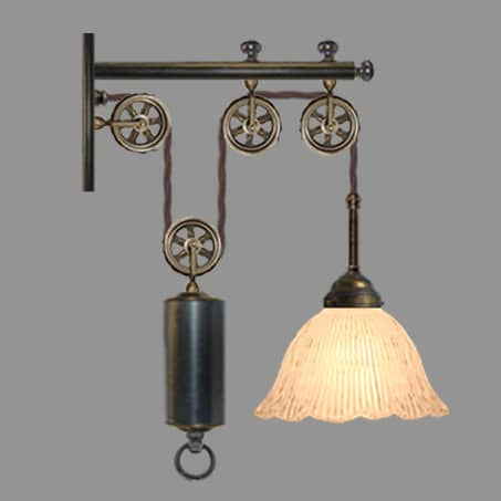 Rise and Fall wall light with Holophane glass shade.