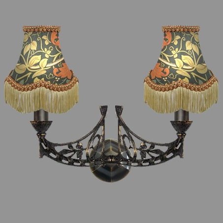 Wall Light Double Floral Shades Tassels