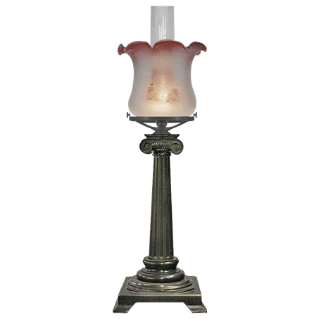Victorian style table lamp cast brass column Fluted Pink tip glass shade