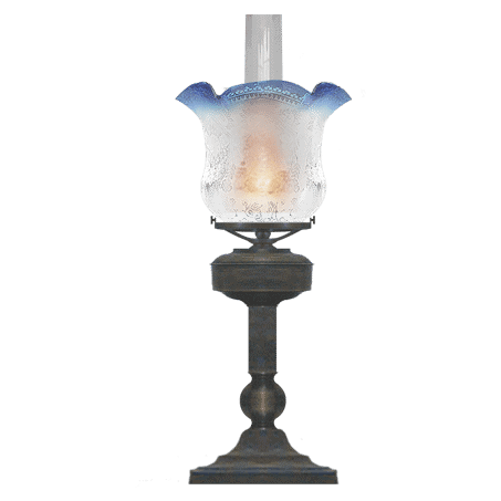 Victorian table-desk lamp blue-tipped etched glass shade