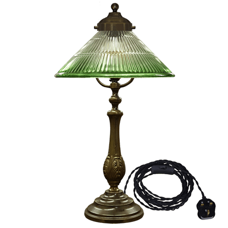 Table Lamp solid brass antique with Cut Glass cone shade green tip