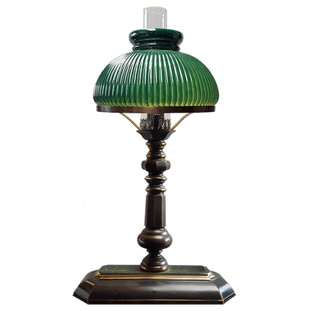 Victorian Table / desk lamp with green ribbed glass shades oblong base