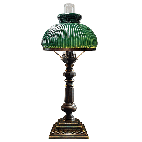 Victorian oil style table lamp with Green ribbed Glass Cowl