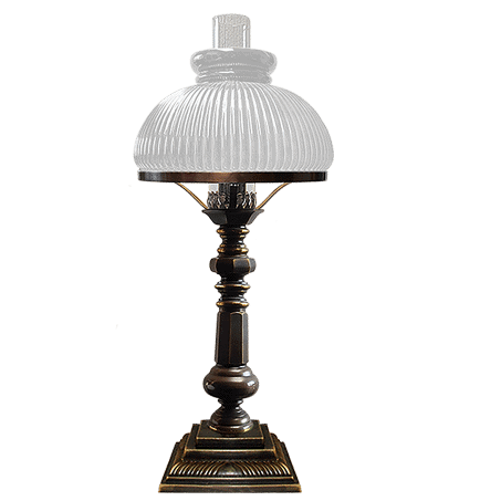 Victorian oil style table lamp with Opal ribbed Glass Cowl