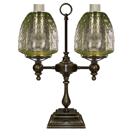 Victorian Double arm table-desk lamp with embossed glass shades