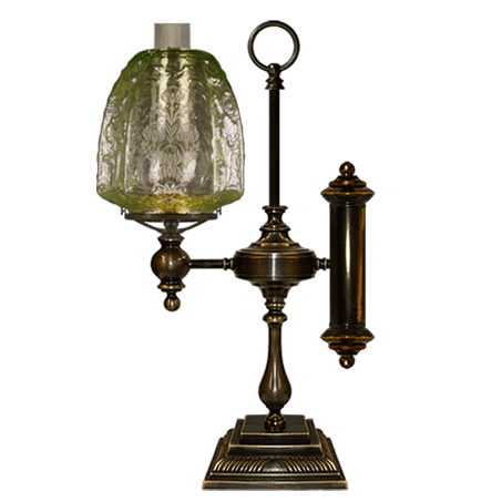 Victorian table-desk lamp with embossed glass shade
