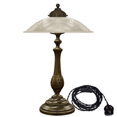 Table Lamp solid brass antique with Holophane ribbed Glass Dome shade