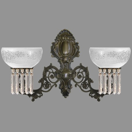 Double Arm Victorian Wall Light with Crystal Drops