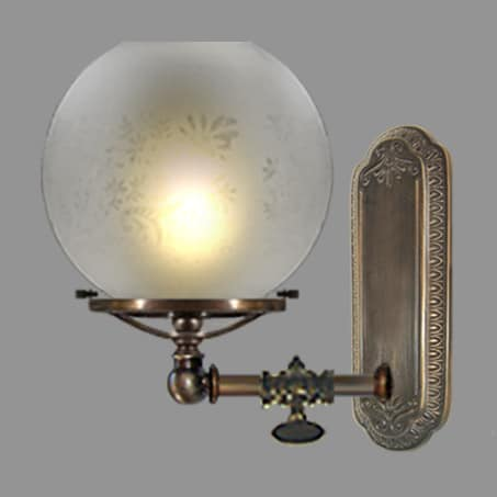 Victorian gas tap wall light with etched globe shade