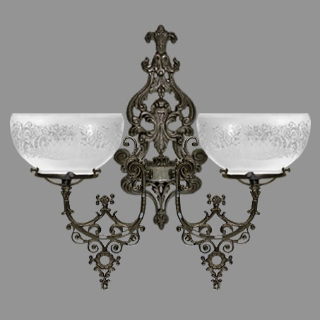 Double Victorian wall light etched gas glass.
