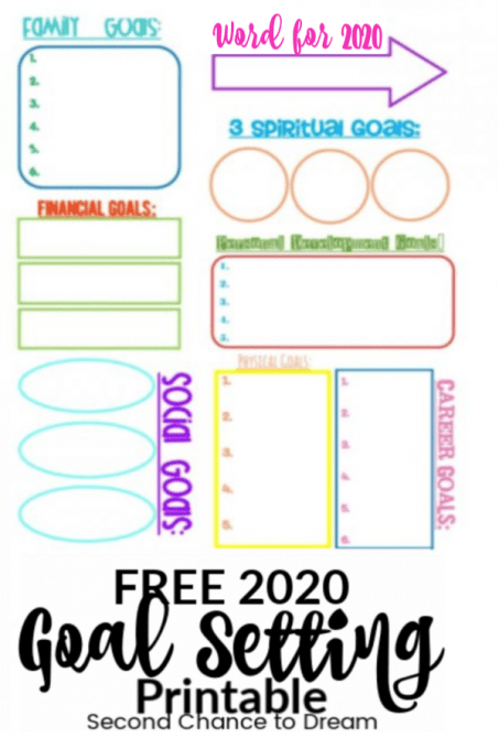 Second Chance to Dream: 2020 Free Goal Setting Printable #goals #goal setting #dreams #2020
