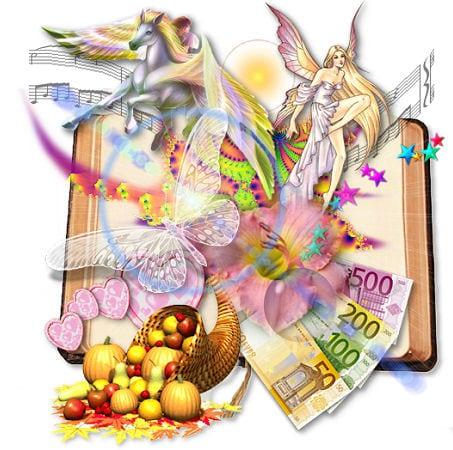 Libro aperto con simboli di benessere e prosperità