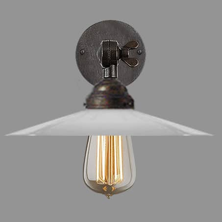 wall light antique finish with shallow opal cone shade filament lamp