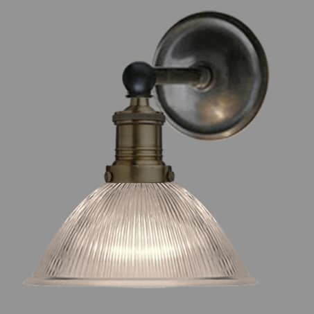 Antique straight arm antique wall light with small dome holophane glass