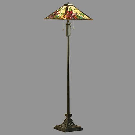 Floor Lamp with Beautiful 4 sided conical Leaded shade