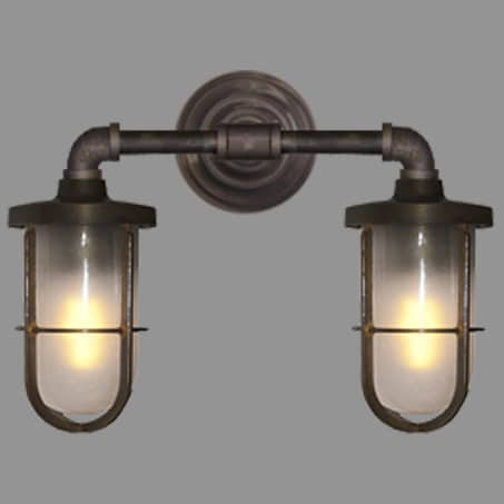 DOUBLE EXTERIOR CAGED WALL LIGHT SOLID BRASS