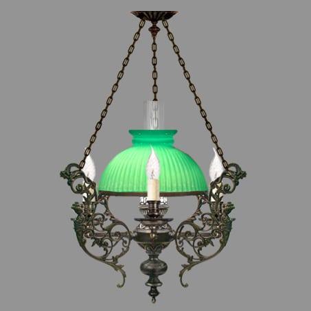 Victorian Lighting Pendant Green Ribbed Glass shade