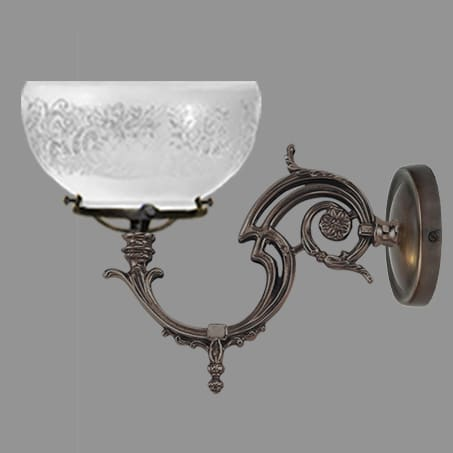 Single Victorian Gas style Wall light etched dome gas glass.