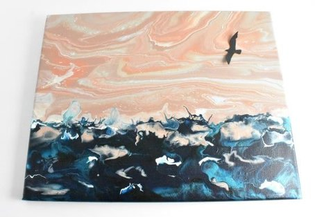 Acrylic Pouring Sunset Beach Pour, an example of choosing paint colors for acrylic pouring