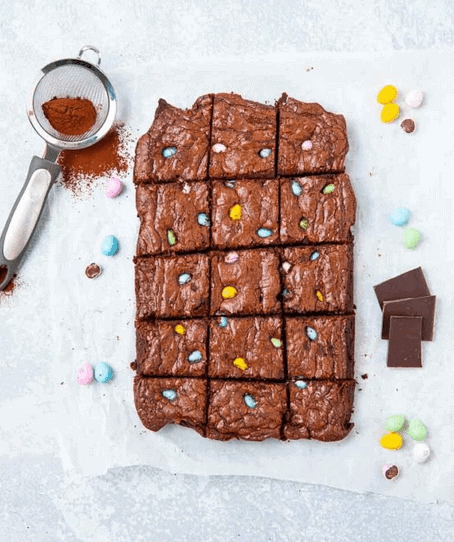 Mini Egg Brownies from Greedy Gourmet in the 25 Recipes Using Mini Eggs