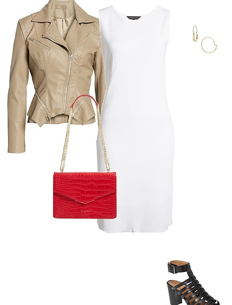a beige jacket and white dress | 40plusstyle.com