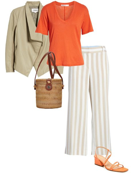Pair orange with neutrals - beige | 40plusstyle.com
