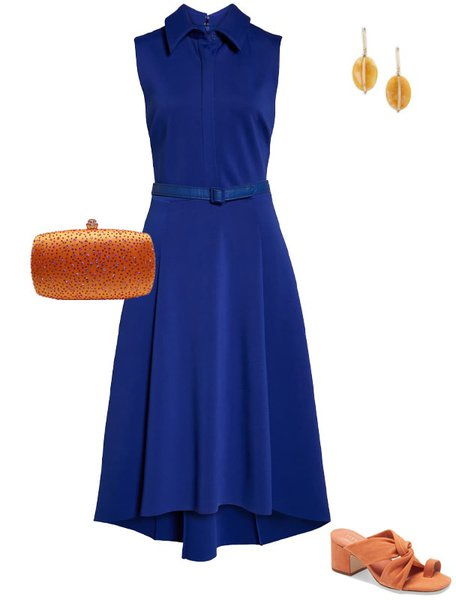 Orange with cobalt blue outfit | 40plusstyle.com