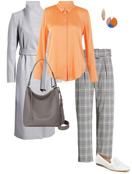 how to wear orange with a gray coat and pants | 40plusstyle.com