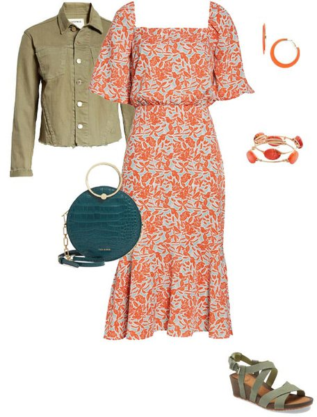 Orange with green outfit | 40plusstyle.com