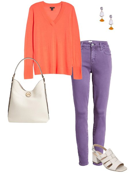 Embrace the purple-orange clash | 40plusstyle.com