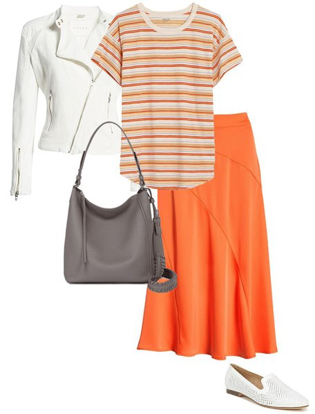 Pair orange with neutrals - white | 40plusstyle.com