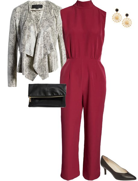 what to wear for valentines day - a red jumpsuit | 40plusstyle.com