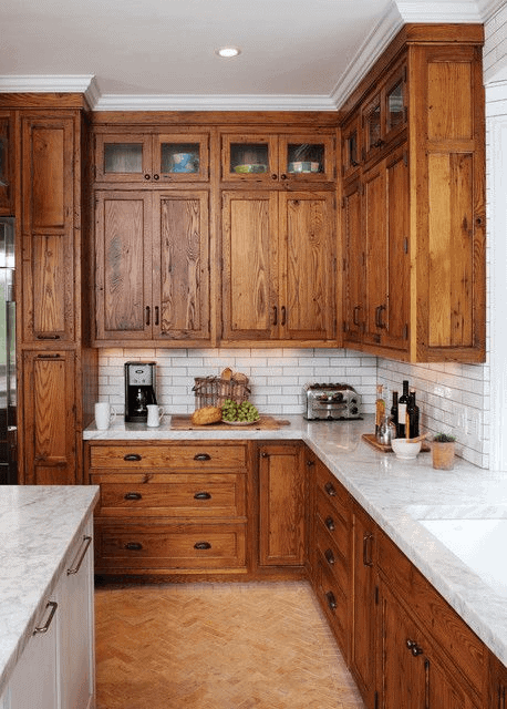 Floor to ceiling kitchen cabinets rustic