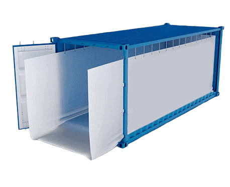 Container liner bags with open door