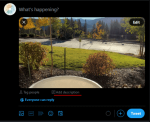 """Image showing how to use the """"add description"""" function on a Twitter photo upload."""