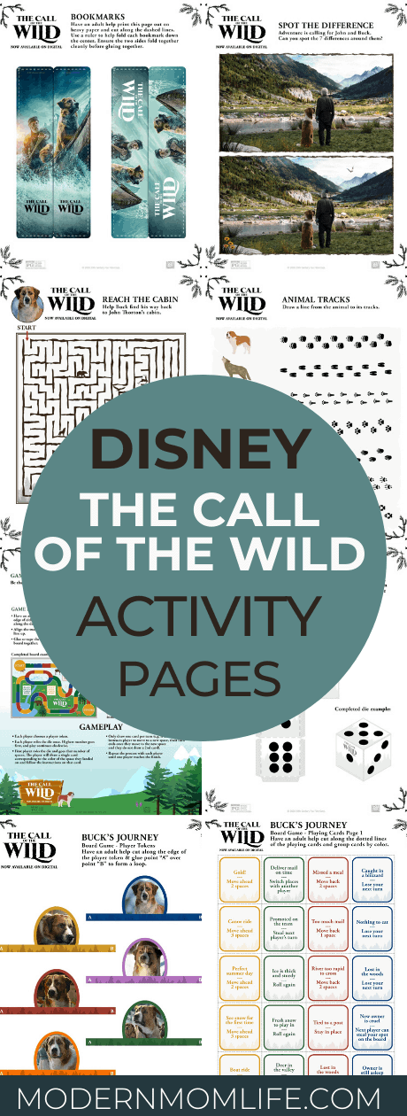Disney The Call of the Wild Activity Sheets