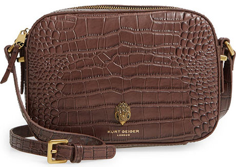 Kurt Geiger London Richmond Croc Embossed Leather Crossbody Bag | 40plusstyle.com
