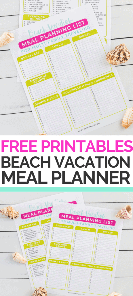 Beach Vacation Meal Planner