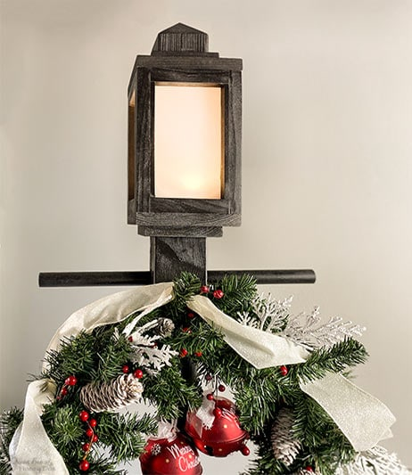 wooden Christmas lamppost and lantern