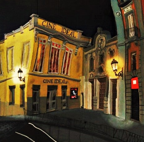 Madrid, Tirso de Molina. Cines Ideal. Cartón, plástico, luces, cola, alambre, pigmentos metálicos y óleo sobre tabla, 1 x 1 cm. 2009.