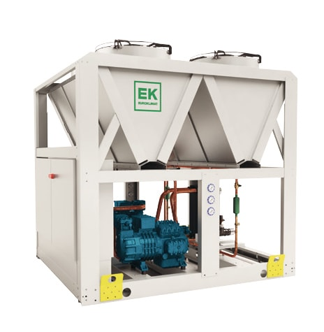 White propane chiller with blue reciprocating compressors for service maintenance and repair