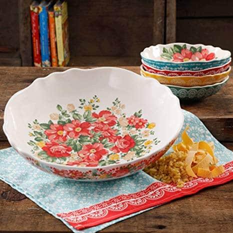 5-Piece Vintage Floral Pasta Bowl Set