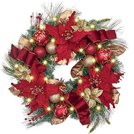 Luxury Red Gold Christmas Wreath