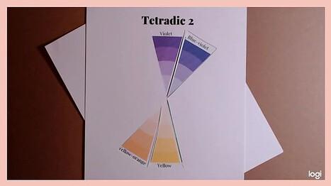 tetradic color scheme violet, blue violet, yellow, yellow-orange on a color wheel