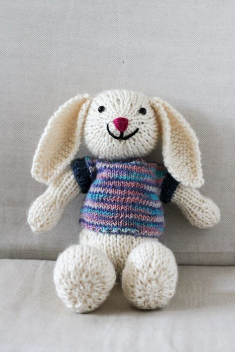 white bunny with sweater