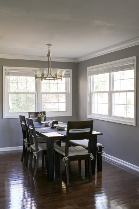 dining room with Crate and Barrel table