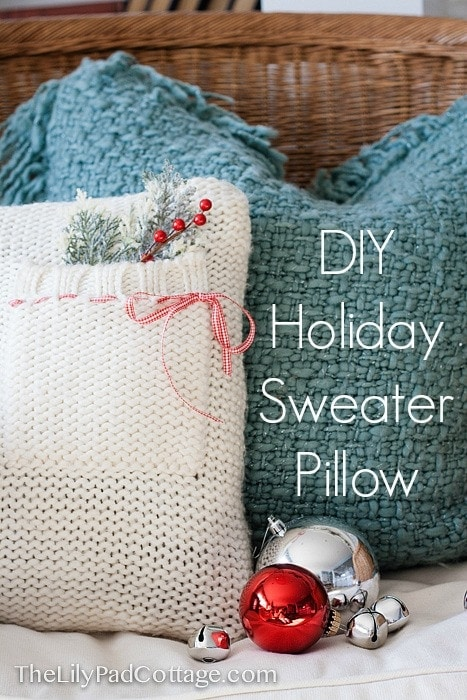 holiday pillow out of an old sweater