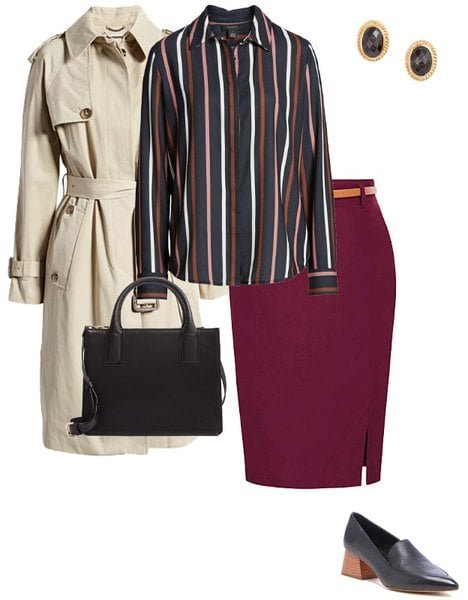 striped shirt and pencil skirt   40plusstyle.com
