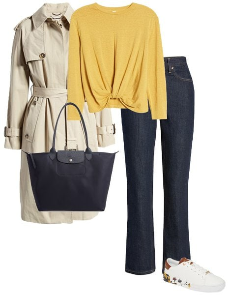 a trench coat worn with a sweater and jeans   40plusstyle.com